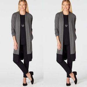 J Jill Wearever Duster Open Cardigan Color Block L